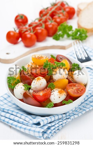 salad with mozzarella, fresh herbs and colorful cherry tomatoes, vertical, close-up - stock photo