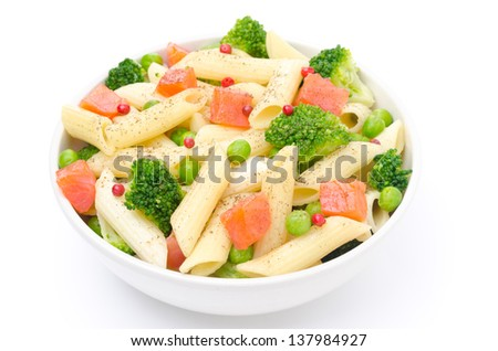 Salad With Pasta Smoked Salmon Broccoli And Green Peas Isolated On A White Background