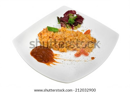 salad with pilaf and greens - stock photo