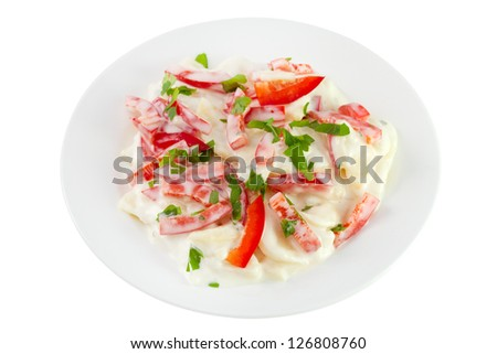 salad with potato, pepper, mayonnaise on the plate