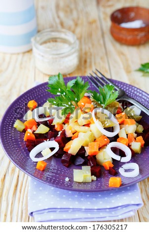 salad with potatoes and beetroot, food closeup