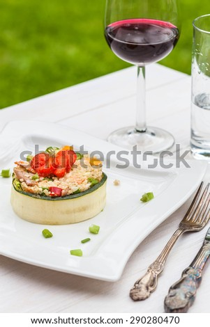Salad with quinoa, selective focus