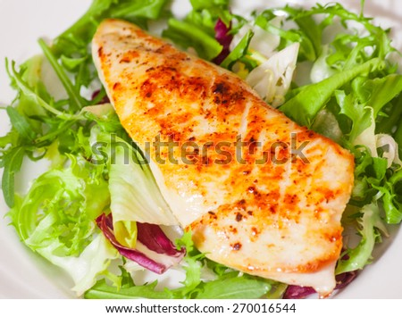 salad with roasted chicken breast - stock photo