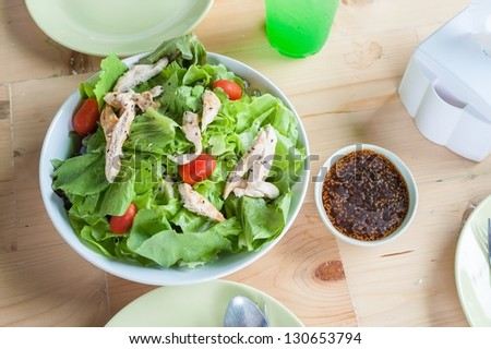 salad with roasted pork - stock photo