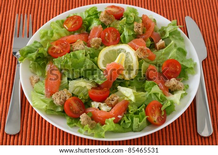 salad with salmon and lemon