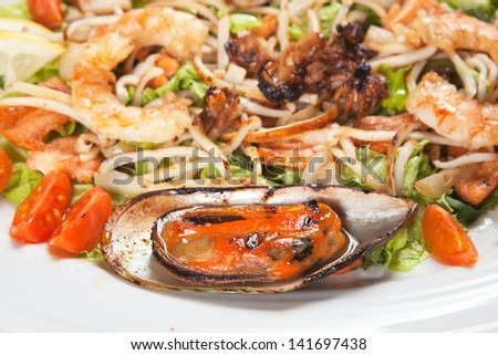 salad with salmon and seafood