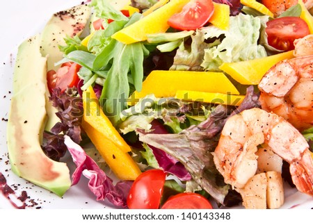 Salad with scallops and prawns - stock photo