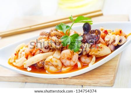 salad with seafood - stock photo