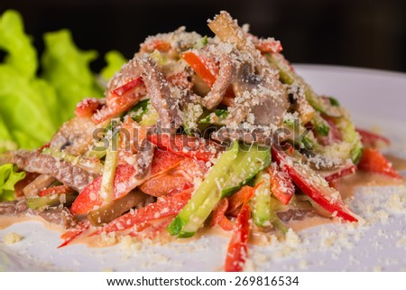 Salad with vegetable and seafood  - stock photo