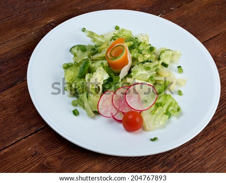 salad with vegetables and greens. close up