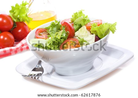 salad with vegetables on white background - stock photo