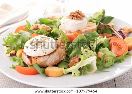 salad with walnut, bread and goat cheese - stock photo