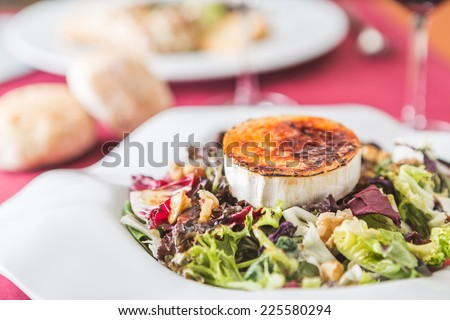 salad with walnut, differents lettuces and goat cheese - stock photo