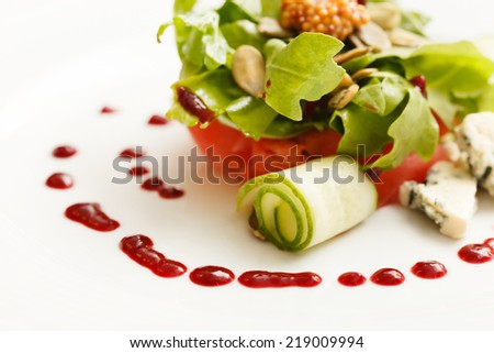 salad with watermelon - stock photo