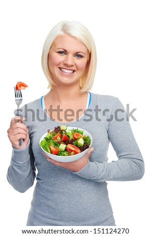 salad woman diet healthy eating happy and slim - stock photo