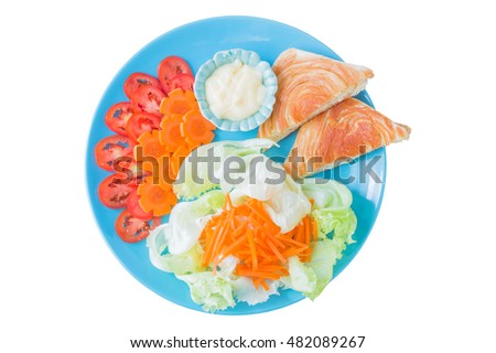 Salads and sandwiches in blue ceramic plate isolated on white background, top view and clipping path.