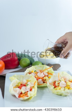 salads on white background