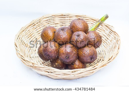 Salak, tropical fruits in white background