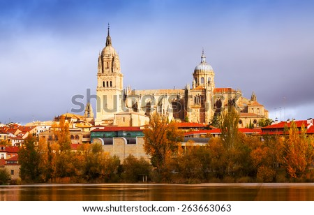 Salamanca Cathedral from  River  in autumn. Castile and Leon, Spain