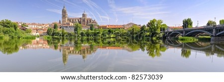 Salamanca Cathedral from the River Tormes.