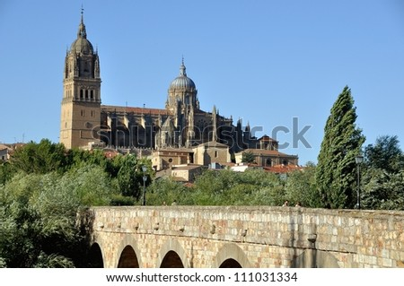 Salamanca's Romana Bridge with New Cathedral at the background