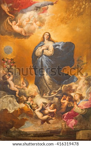 SALAMANCA, SPAIN, APRIL - 17, 2016: The Immaculate conception of Virgin Mary painting on the altar of Convento de las Agustinas and Iglesia de la Purisima church by Jose de Ribera 1635.
