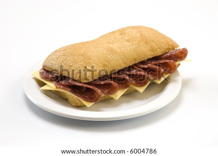 salami and cheese sandwich isolated on white