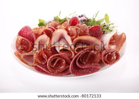 Salami and ham - stock photo
