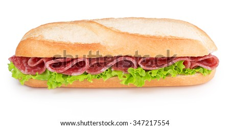 salami and lettuce sandwich isolated on white - stock photo