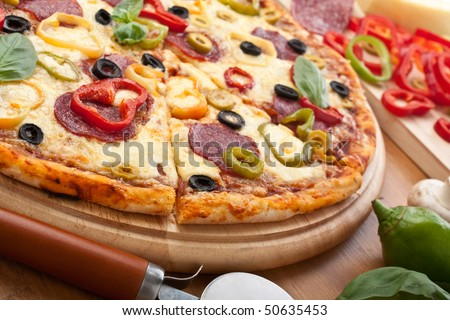 salami and vegetable  pizza with ingredients