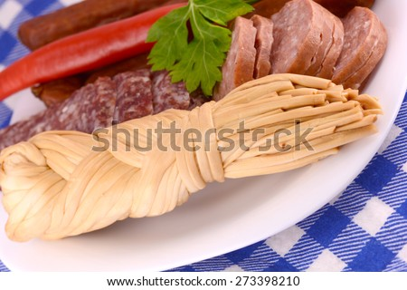 salami, cheese and red pepper - stock photo