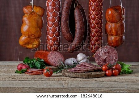 Salami different sorts - stock photo