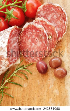 Salami milano food background - stock photo