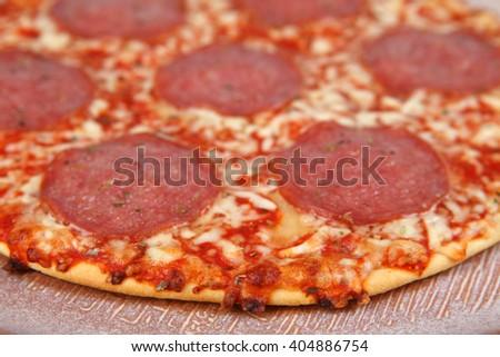 salami pizza - stock photo