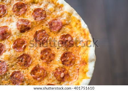 salami Pizza on the dish
