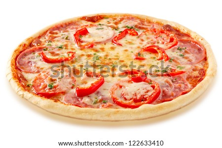 Salami pizza with tomatoes and red pepper and ingredients - stock photo