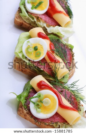 Salami sandwich on whole wheat bread with egg and cheese - stock photo