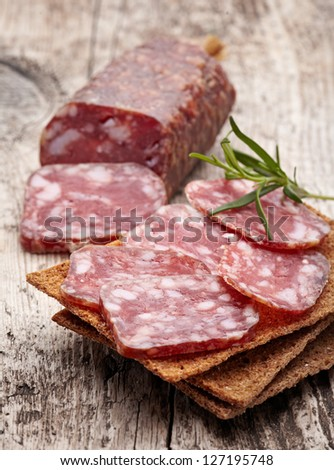 Salami sausage and bread