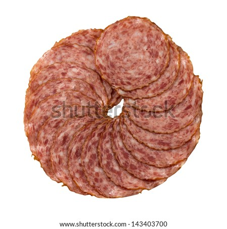 Salami slices on a white background