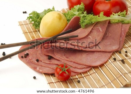 Salami,  with chineswood and tomatos - stock photo