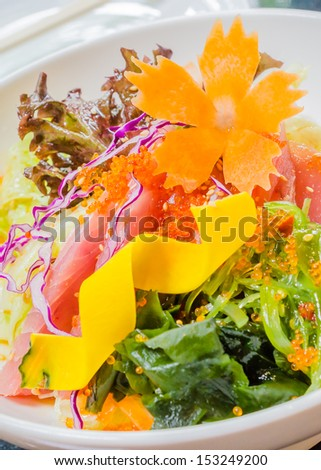 Saland tuna japanese style in white bowl - stock photo