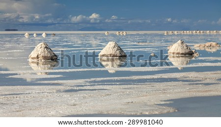 Salar de Uyuni is largest salt flat in the World, Altiplano, Bolivia - stock photo