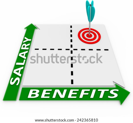 Salary and Benefits words on a matrix or chart measuring higher or lower compensation levels and giving you a choice of more or less perks vs pay or wages - stock photo