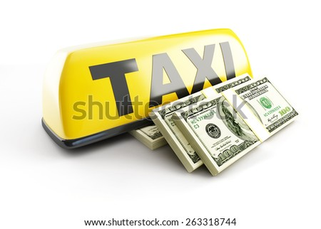 salary taxi driver 3d Illustrations on a white background - stock photo