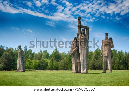 SALASPILS, LATVIA - JUNE 6: Salaspils war memorial on June 6th, 2015. This memorial is located on the place of Salaspils concentration camp in Latvia.