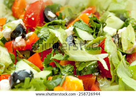 Salat with olives very closeup shot. - stock photo