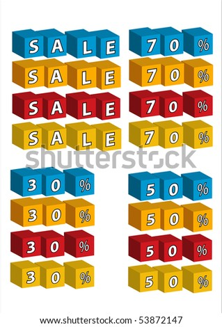 Sale and discount labels in blue, orange, red and yellow