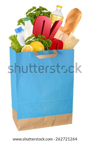 Sale. Bag with groceries and percentage symbol isolated on white background. Full size