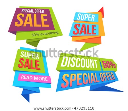 Sale banners and ads web template collection. Origami badges, sign, symbol design, for website and mobile website banners. Sale and discounts isolated on white