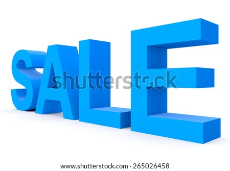 SALE - blue 3d letters isolated on white, side view
